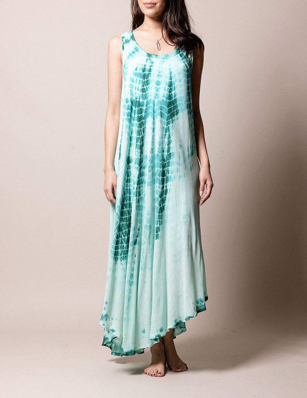 Boho Breeze Tie-Dye Dress - New Jade
