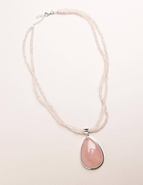 Brazilian Rose Quartz Beaded Necklace - One of a Kind