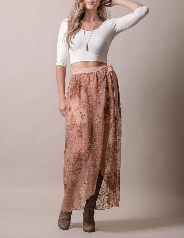 Burnout Velvet Faux Wrap Skirt