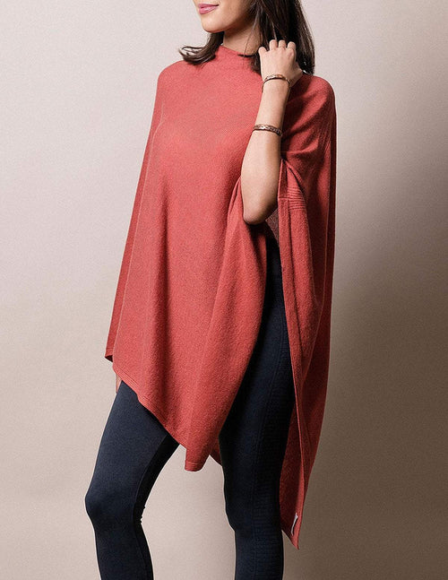 Cashmere & Wool Poncho - Coral