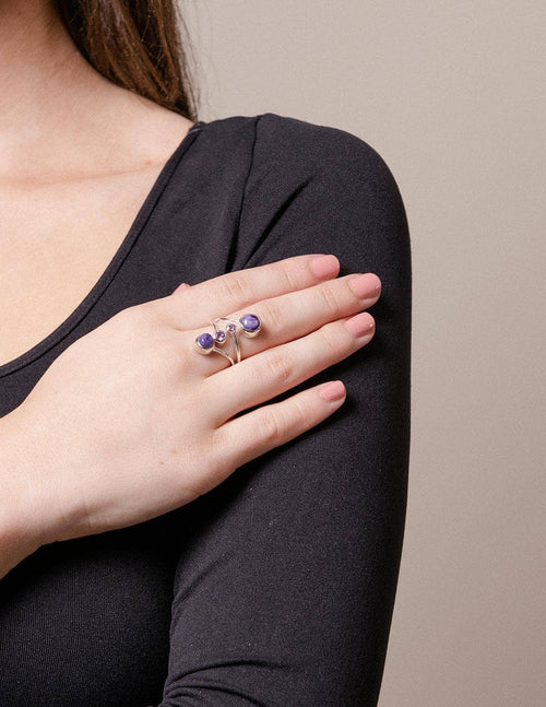 Charoite and Amethyst Ring