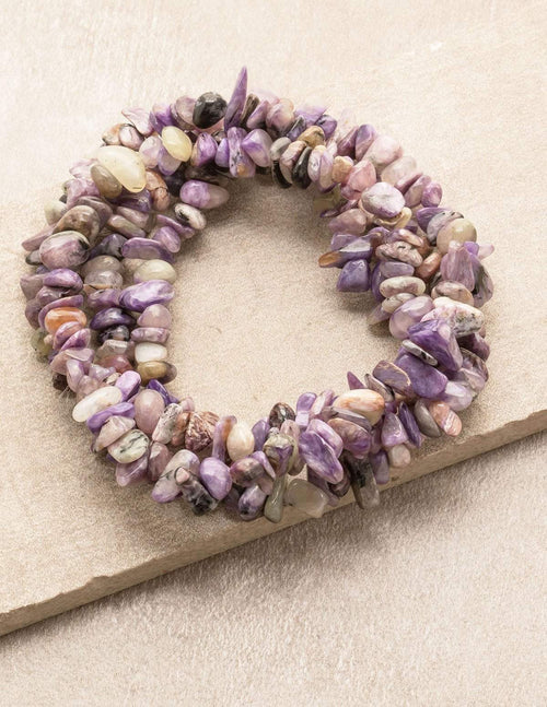 Charoite Gemstone Chip Necklace