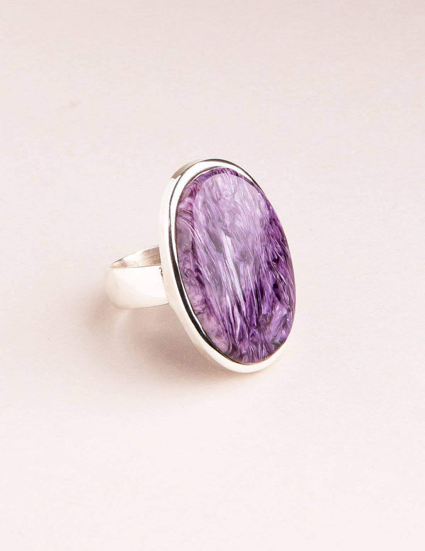 Charoite Gemstone Ring - Adjustable