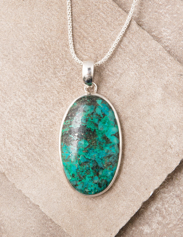 Chrysocolla Oval Pendant Necklace