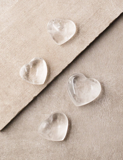 Clear Quartz Mini Hearts - Set of 4