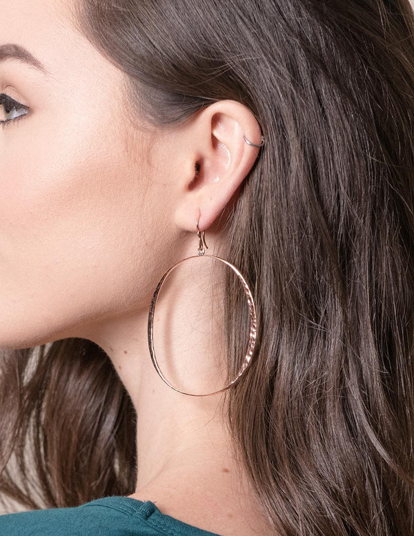 Copper Hammered Hoop Earrings