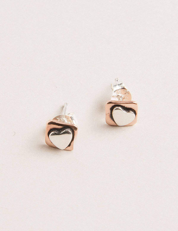 Fair Trade Copper Heart Studs