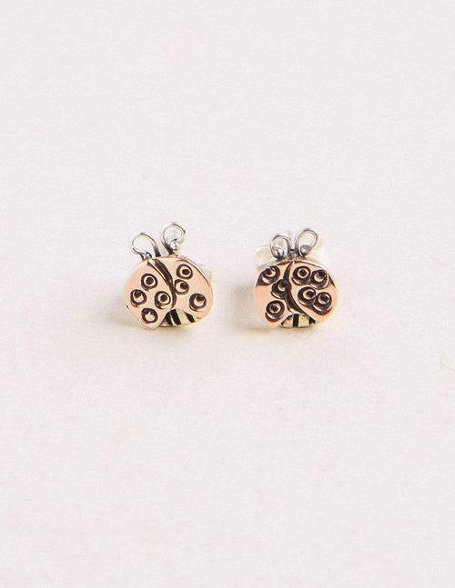 Fair Trade Copper Ladybug Studs