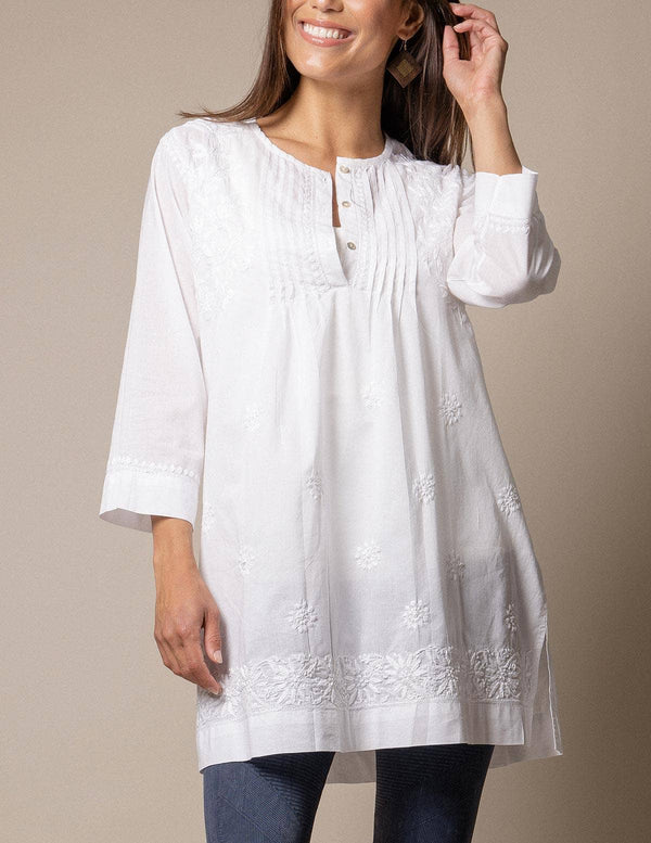 Fair Trade Amara Tunic - White - Small Only