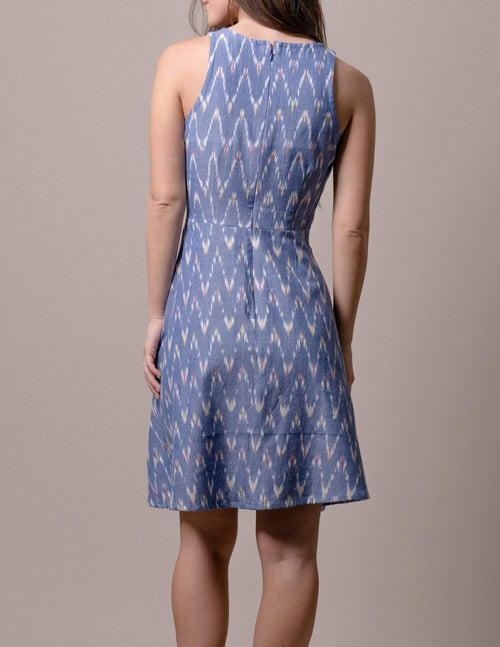 Fair Trade Carly Dress - Blue Ikat