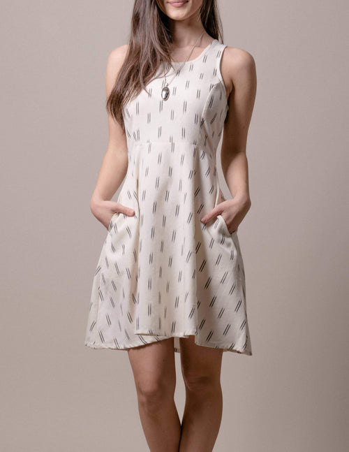 Fair Trade Carly Dress - Ivory Ikat