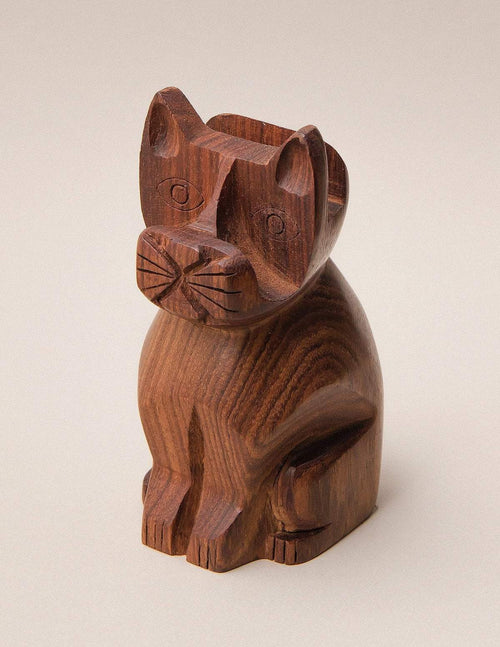Fair Trade Carved Cat Eyeglass Holder