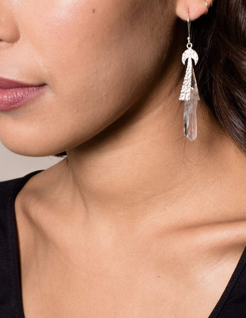 Fair Trade Crescent Moon Clear Quartz Earrings