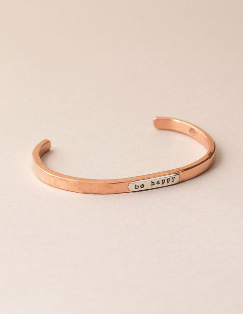 Fair Trade Copper Affirmation Bangle - Be Happy
