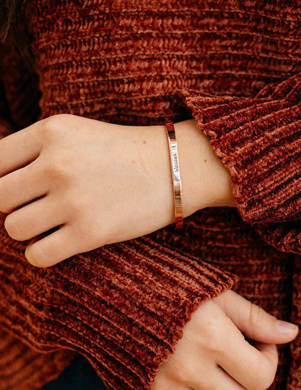 Fair Trade Copper Affirmation Bangle - Blessed