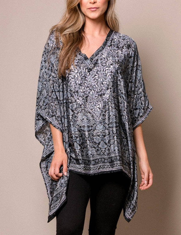 Fair Trade Flowy Silk Tunic - Black Silver