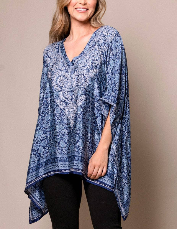 Fair Trade Flowy Silk Tunic - Cobalt Blue