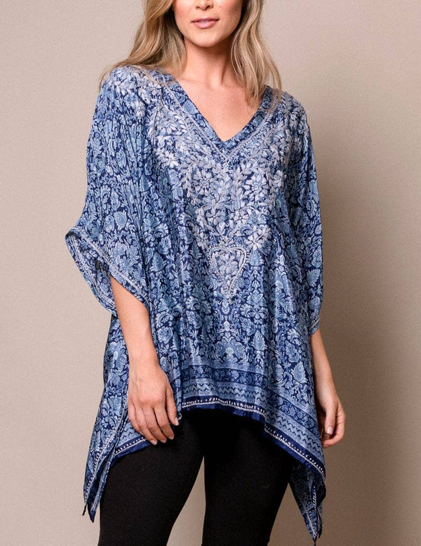 Fair Trade Flowy Silk Blend Tunic - Cobalt Blue