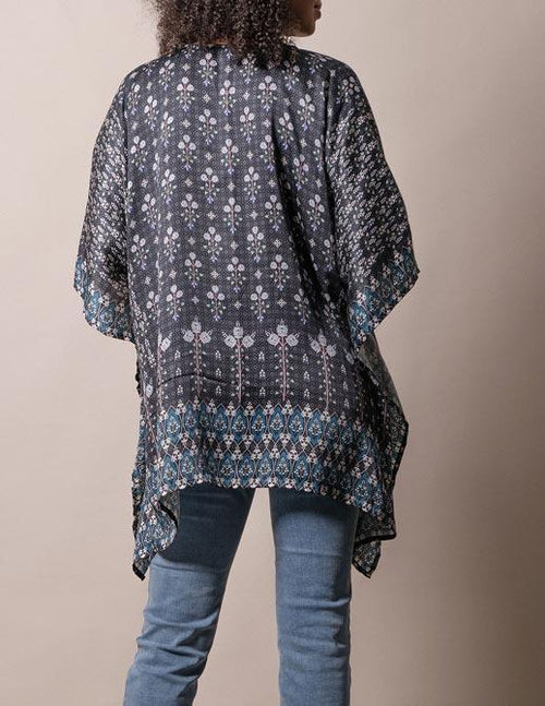 Fair Trade Flowy Tunic - Black Floral
