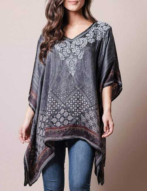 Fair Trade Flowy Tunic -Charcoal