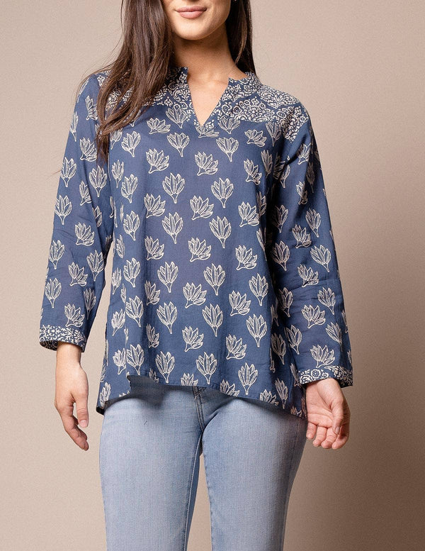 Fair Trade Indigo Lotus Tunic Top