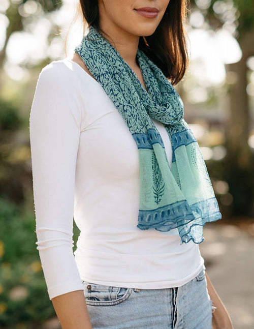 Fair Trade Jesari Scarf - Azure
