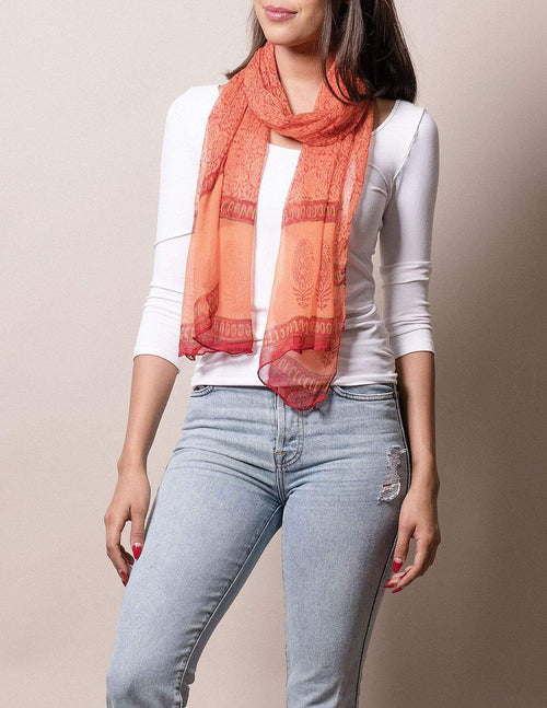 Fair Trade Jesari Scarf - Papaya