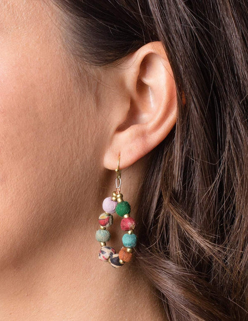 Fair Trade Kantha Teardrop Earrings