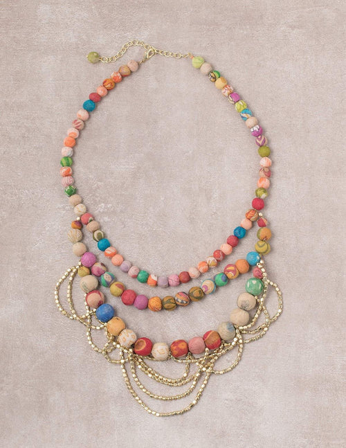 Fair Trade Layered Kantha Necklace