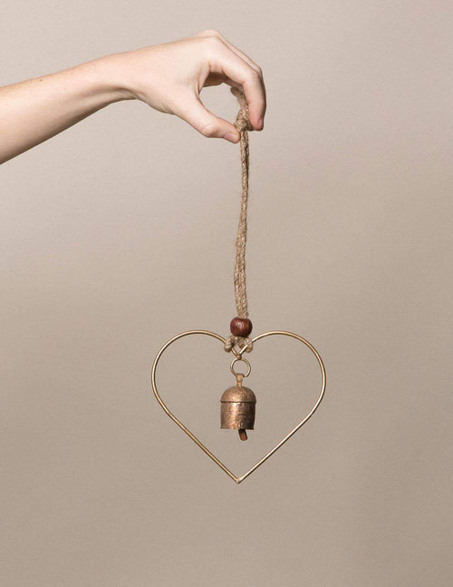 Fair Trade Rustic Heart Bell Chime