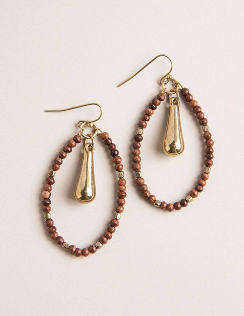 Fair Trade Wood Marquise Earrings