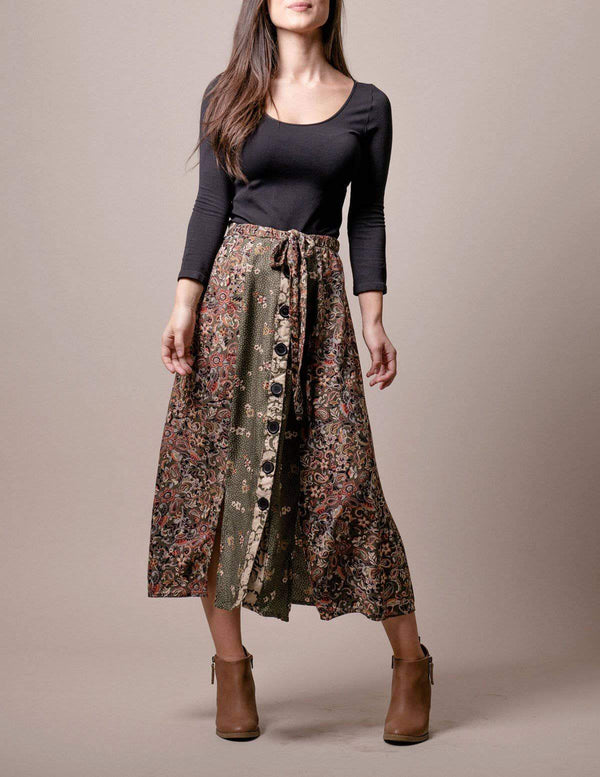 Gemma Button-Front Skirt