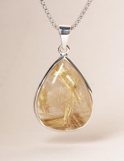 Golden Rutilated Quartz Teardrop Pendant