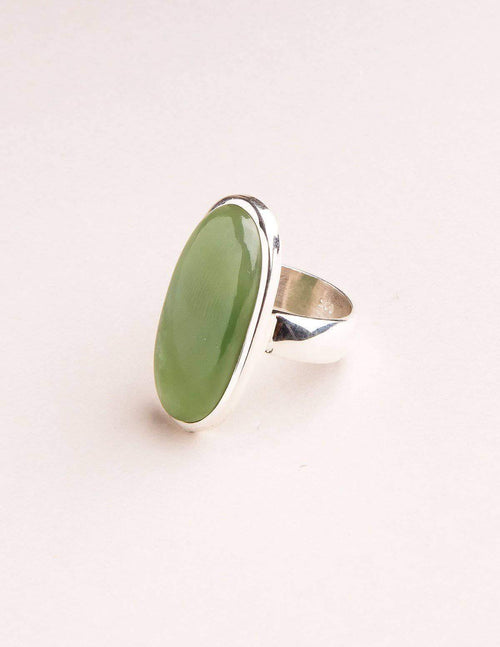Green Jade Gemstone Ring - Adjustable