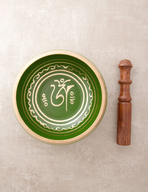 Green Tibetan Om Singing Bowls - 4 inch or 5 inch