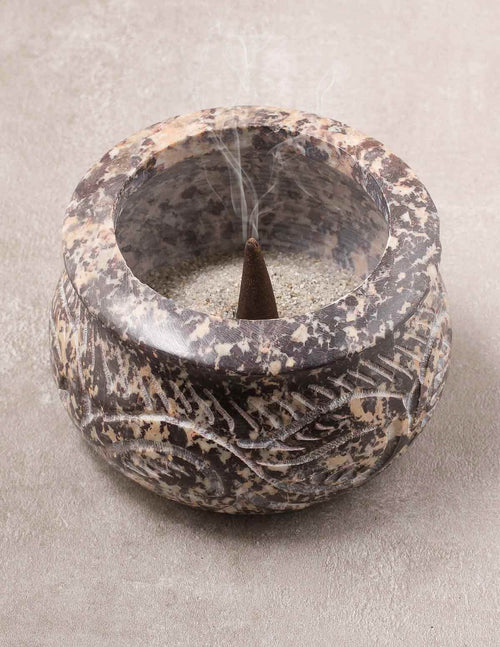 Hand Carved Stone Smudge Pot
