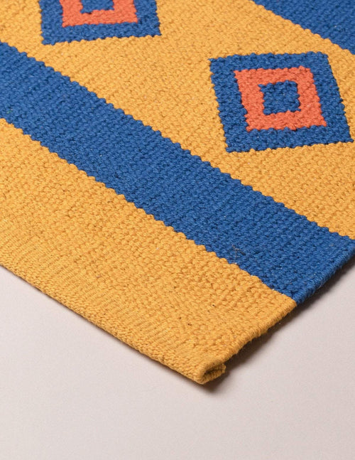 Handwoven Yoga Rug - Yellow
