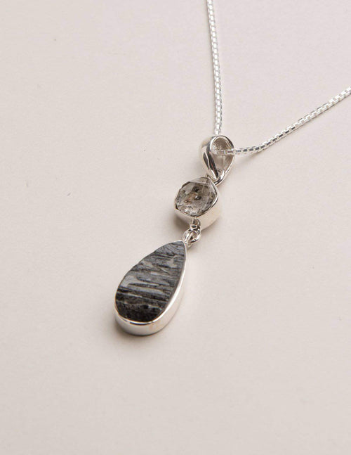 Hematite and Herkimer Diamond Pendant