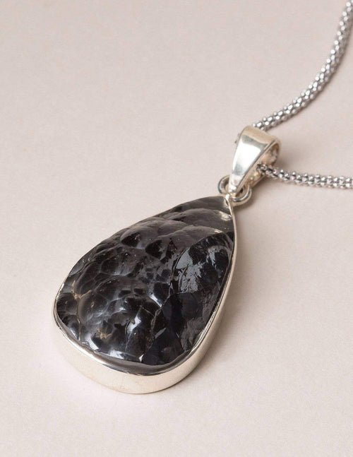 Hematite Teardrop Necklace - Natural Finish