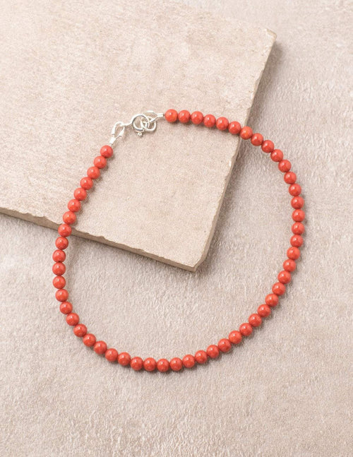High-Energy Red Coral Anklet