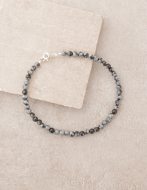High-Energy Snowflake Obsidian Anklet