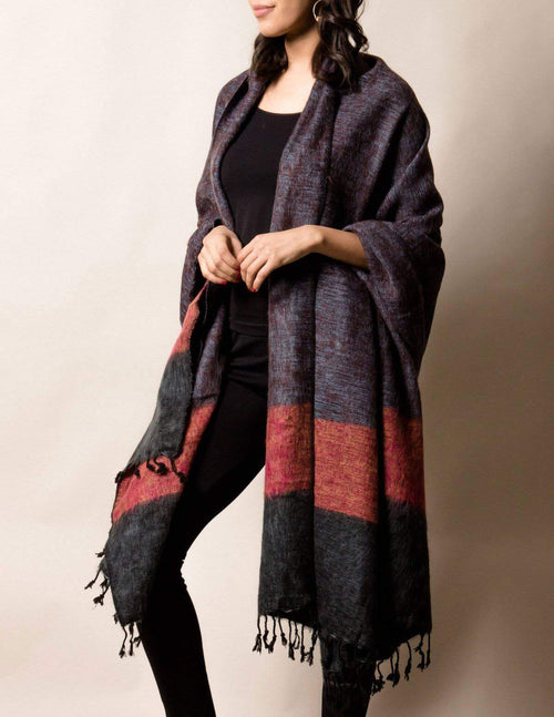 Himalayan Yak Wool Large Wrap - Purple