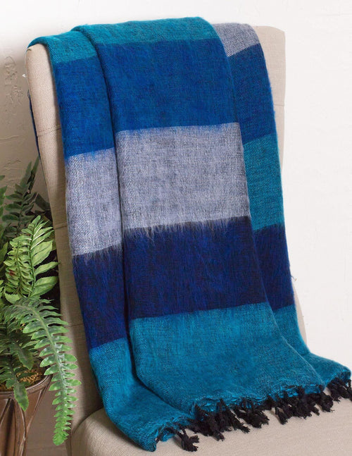 Himalayan Yak Wool Large Wrap - Blue Ice