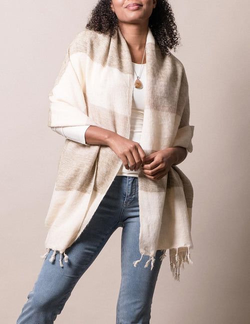 Himalayan Yak Wool Wrap - Cream