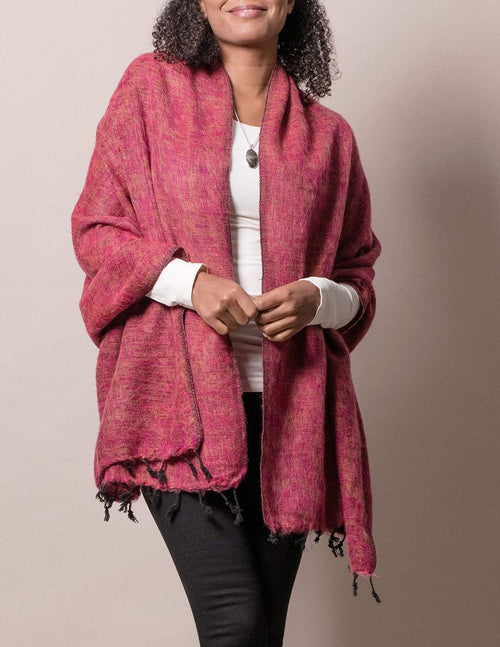 Himalayan Yak Wool Wrap - Raspberry
