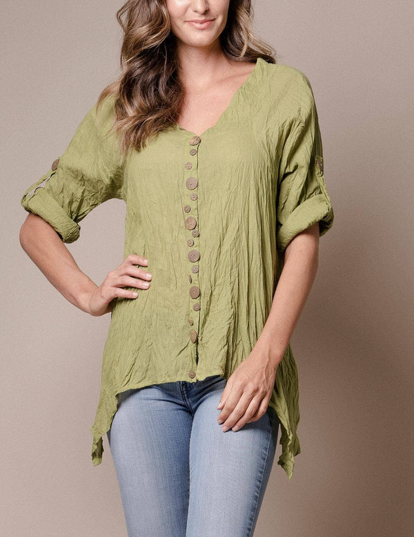 Kenzie Crinkle Button Tunic