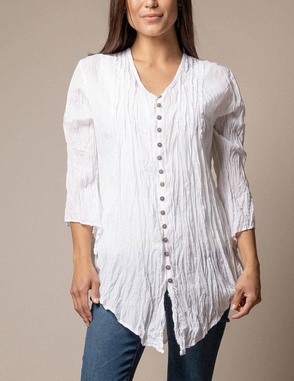 Kenzie Crinkle Cotton Tunic - White Only