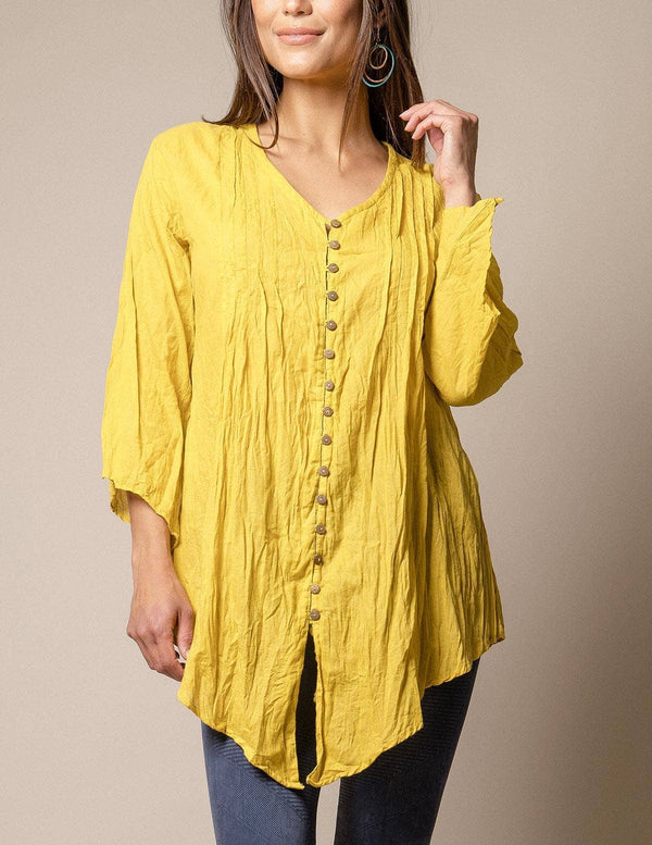 Kenzie Crinkle Cotton Tunic - Mustard Only
