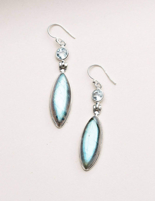 Labradorite and Blue Topaz Earrings