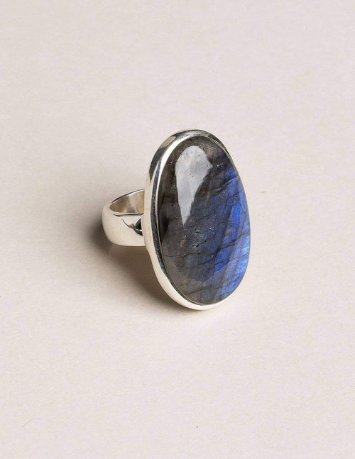 Labradorite Oval Gemstone Ring - Adjustable